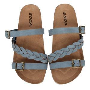 GIRLS Blue Buckle Strap Platform Slip On Sandal